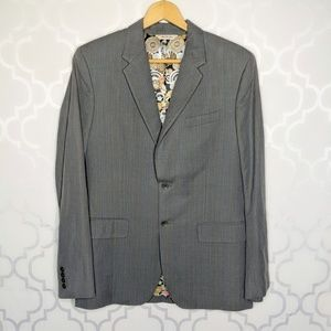 Penguin Gray Cotton/Linen Striped Fitted Blazer